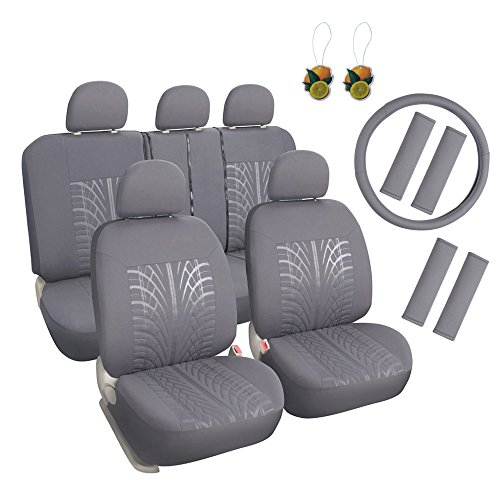 Leader Accessories Embossed Cloth Grey 17pcs Car Seat Covers Full Set Front + Rear with Airbag Universal Fits Trucks SUV - FREE Steering Wheel Cover/Shoulder Pads
