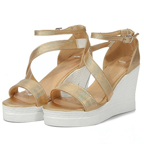 TAOFFEN Ouvert Cheville Bout Mode Chaussures Plateforme De Compensees Sangle Or Femmes Sandales r41CwzrcRq