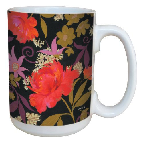 (Tree-Free Greetings lm43695 Floral on Black by Nel Whatmore Ceramic Mug, 15-Ounce, 15 ounce, Multicolor)