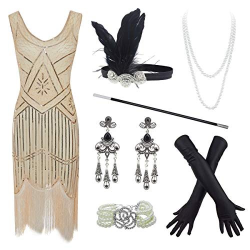 (20s Flapper Gatsby Sequin Beaded Evening Cocktail Dress with Accessories Set (Large, Beige))