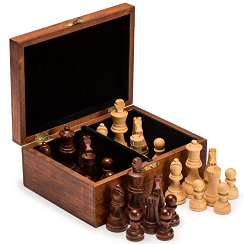 Tournament Staunton Chessmen Set - Husaria Staunton No. 5 Chessmen with 2 Extra Queens and Wooden Box, 3.5-Inch King