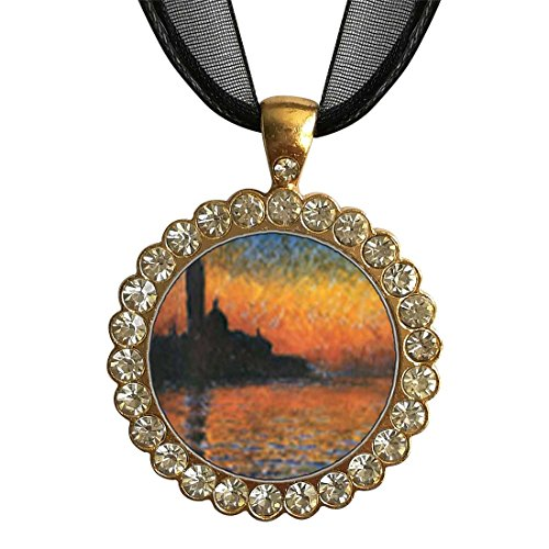 GiftJewelryShop Gold-Plated Monet's San Giorgio Maggiore White Crystal Charm Pendant Necklace ()