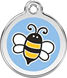 Red Dingo Custom Engraved Stainless Steel & Enamel Bumble Bee Dog I.D. Tag - Light Blue (Medium)