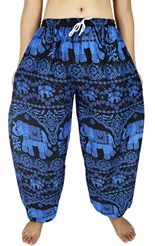 "[Lovely Creations's Unisex Plus Size Bohemian Pants Waist 24-44"" US size 0-20 (AA Blue B)] (1920s Beach Costume)"