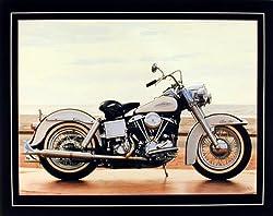 1967 White Shovelhead Harley Davidson Vintage Motorcycle Bike Art Print Poster (16x20)