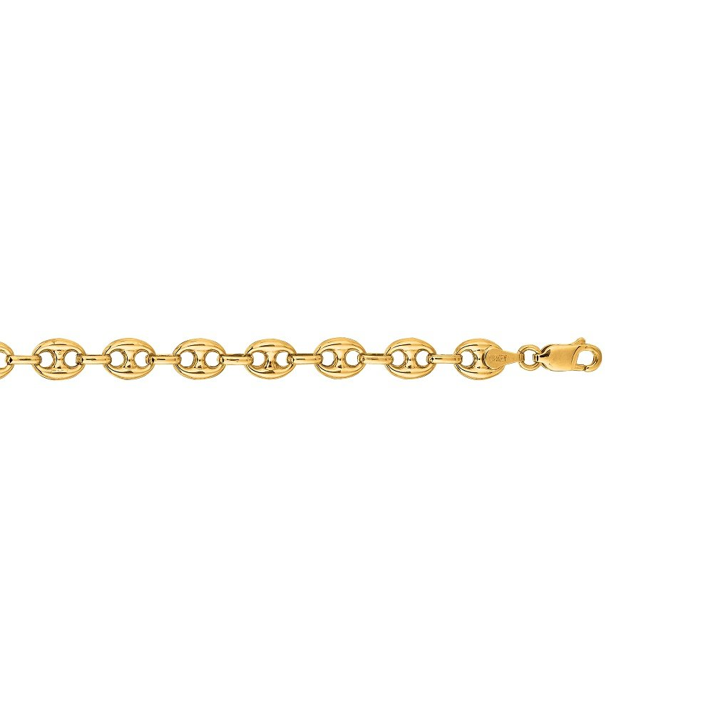 14k Yellow Gold Puffed Anchor Mariner 7.5'' link bracelet 11 MM 9 grams