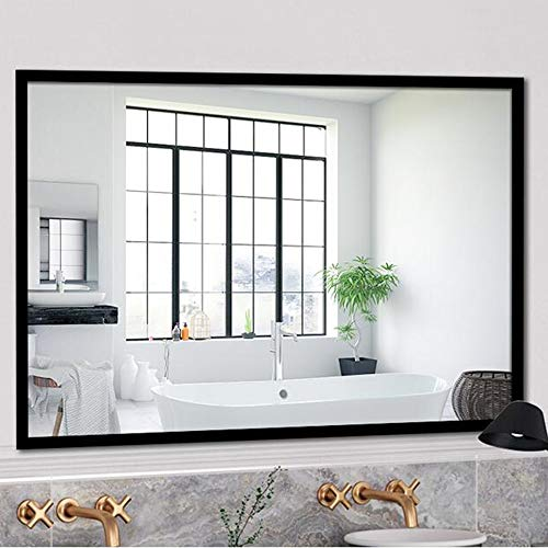 Bathroom mirror Wall-Mounted Mirror, Solid Wood Simple Square, Wall Hanging Decorative Mirror, -