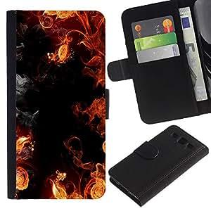 KLONGSHOP / Tirón de la caja Cartera de cuero con ranuras para tarjetas - Flames Black Red Yellow Hell Smoke Fire - Samsung Galaxy S3 III I9300