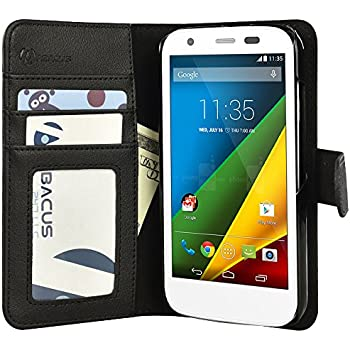 Moto G Case, Abacus24-7 Motorola Moto G Wallet Case, Leather Moto G Flip Cover with Card Holder and Kickstand - Black Flip Case for Motorola Moto G (1st Gen) Phone