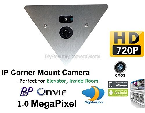 H.264 720P 1.0MP IP Corner Mountable Network Camera Audio P2P Onvif Day/Night, 12VDC [並行輸入品] B01KBRBGFO