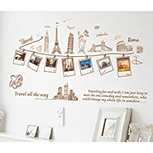 Kaimao DIY Large Travel Memory Eiffel Tower Photo Frame Wall Stickers Art Decal Murals Removable Wallpapers for Home Decoration