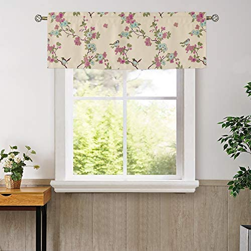 BGment Valance Curtains for Bedroom – Top Pocket Thermal Insulated Room Darkening Printed Bird Floral Patterns Bathroom and Blackout Curtains, 2 Panels of 52 x 18 Inch, Beige