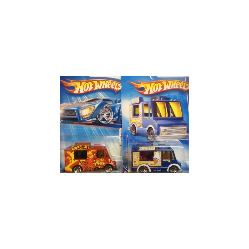 Hot Wheels Ice Cream Truck Variant Set Tropicool Series 5 Spoke Red #142 & The City Works 10 Spoke Blue #113 {2 Pieces} Scale 1/64 Collector
