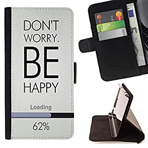 Super Marley Shop - Leather Foilo Wallet Cover Case with Magnetic Closure FOR Samsung Galaxy S6 G9200- Don't worry be happy