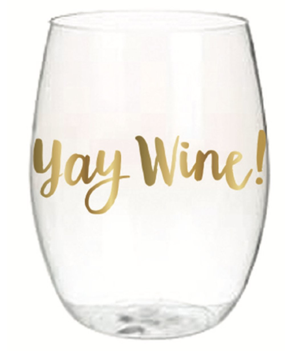 Yay Wine Set of 4 16 oz Stemless Wine Glass