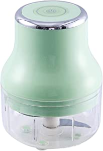 Electric Garlic Chopper,USB Charging Electric Garlic Masher Food Chopper with 3 Sharp Blades Food Processor for Kitchen Baby Food Chopper and Grinder,Maker/Grinder(250ML/8.54oz) (Green)