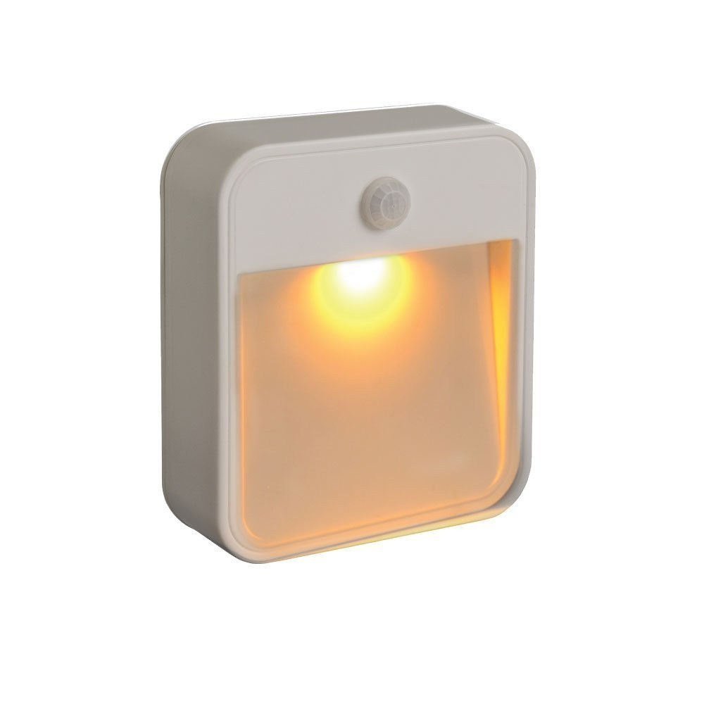 Mr. Beams MB720A Sleep Friendly Battery-Powered Motion-Sensing LED Stick-Anywhere Nightlight with Amber Color LED Light, 3-Pack, White MB720A-WHT-03-00