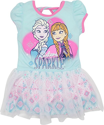 Disney Frozen Elsa Anna Toddler Girls' Bow-Back Tulle Dress, Blue (Elsa Dress Fabric)