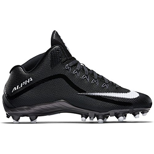 Mens Nike Alpha Pro 2 Football Cleat (10.5 M US, Black/Metallic Dark Grey/White)