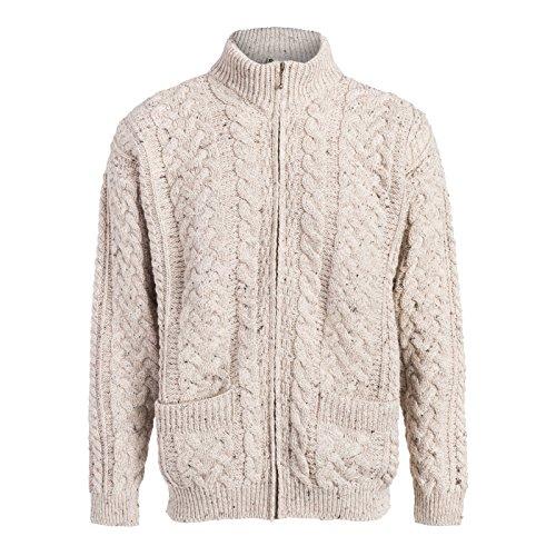 Boyne Valley Knitwear Mens Zip-up Cardigan Cable Patterns (Skiddaw, XLarge)