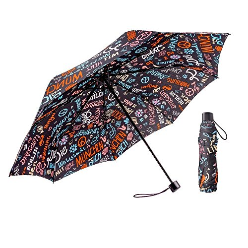 Cheap  BOY Windproof Travel Umbrella,Tri-fold Collapsible Compact Lightweight Umbrella,Designed in German (Black Graffiti)