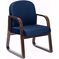 Sled Base Wood Reception Chair Dimensions: 24W x 25D x 34H Seat Dimensions: 20Wx19Dx17.5H Weight: 30 lbs. Navy Fabric/Mahogany Frame