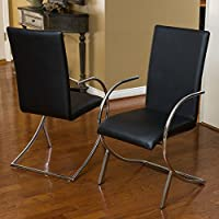 Best Selling Home Decor Lydia Leather and Chrome Chairs - Set of 2