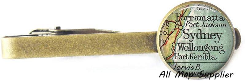 AllMapsupplier Charming Tie Clip,Sydney,Australia map Tie Clip,Sydney Tie Clip,Sydney map Tie Clip,Sydney map Tie Clip Tie Pin,A0233
