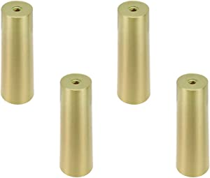 Geesatis 4 pcs Table Feet Cover Cap Fits 1 inch Round Furniture Leg Cover Metal Table Feet Cap Floor Protector Table Chair Sofa Decorative Feet Cover, Gold, Zinc Alloy, Height 4 inch / 10 cm