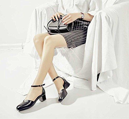 Cabeza Las Baotou Hebilla Palabra Gruesa Black Verano Zapatos Retro Con Mujeres Redonda De Sandalias gvHUq4g