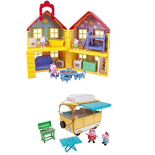 Learning toys bundle: Peppa Pig Peppa's Deluxe House Play Set with 3 Figures and Peppa Pig Family Campervan Play Set with 2 Figures