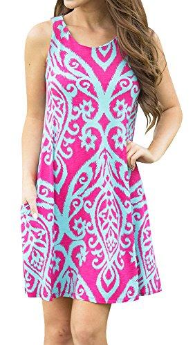 Doubleal Women's Summer Sleeveless Damask Floral Print Pocket Loose T-shirt Dress