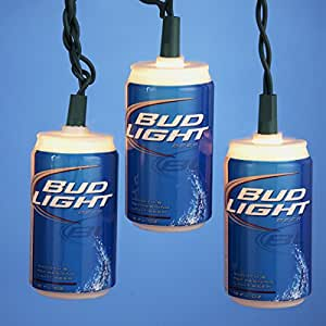 Set of 10 Bud Light Beer Can LED Novelty Christmas Lights - Green Wire
