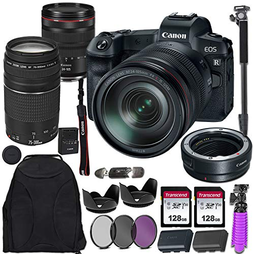 Canon EOS R Mirrorless Digital Camera with RF 24-105mm USM & EF 75-300mm III Lens Bundle Including Mount Adapter & Valued Accessories