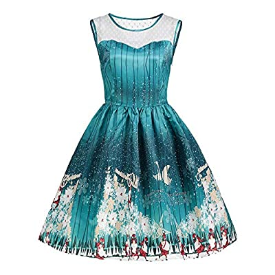 kaifongfu Women Christmas Dress for Evening Party Vintage Ladies Dresses