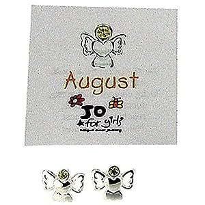 Jo para niñas de plata de ley August Angel Color Peridot Juego de pendientes de piedra del mes