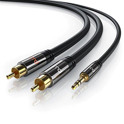 Primewire - 5m Klinke 3,5mm zu 2x Cinch Y Kabel   Metall-Stecker / vergoldet   AUX Eingänge Audio 3,5mm Klinken Stecker zu 2x Cinch / RCA Stecker   Metall-Stecker vergoldet / doppelte Schirmung