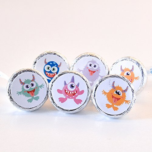 324 Monster Stickers Labels, Monster Birthday Favor Round Candy Label ()