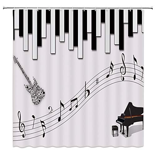 Music Decor Shower Curtain,Bass and Piano Ensemble, used for sale  Delivered anywhere in Canada