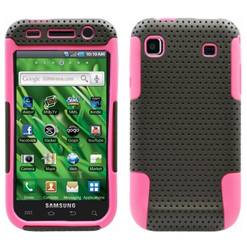 Black Pink 2 in 1 Hybrid Rubber Plastic Skin Case Cover for Samsung Galaxy S Vibrant T959/ Samsung Galaxy S 4g/ T-mobile