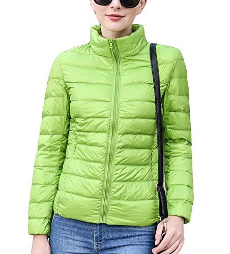 Collar Stand Jacket Packable Warm Fruit Womens Coat Green Lighweight Puffer Bq6ABx5