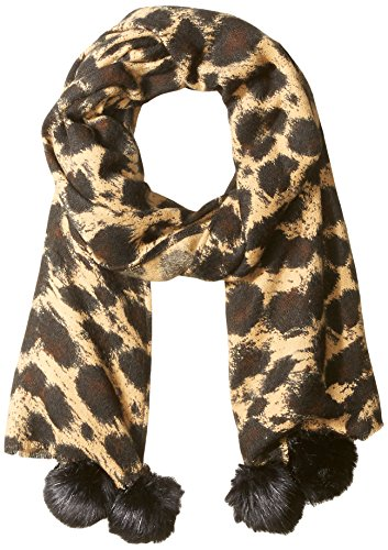 Orchid Row Women's Leopard Scarf with Pom Poms