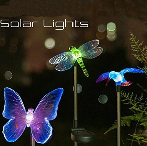 LSHCX Solar Powered Hummingbird, Butterfly & Dragonfly Garden Stake Light with Color Changing LEDs