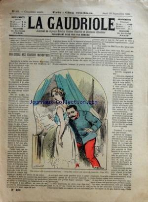 GAUDRIOLE (LE) [No 466] du 19/09/1895 - UNE IDYLLE AUX GRANDES MANOEUVRES - OSCAR METENIER - G. RAYSSAC - H. LAVEDAN - CREBILLON FILS - LEON VALBERT - F. JACOTOT - DESSIN DE CARAN BOL