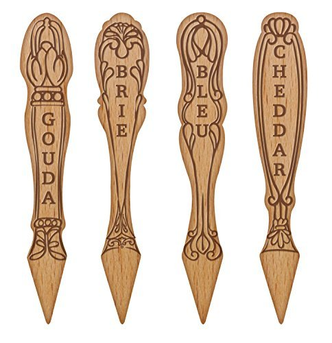 Talisman Designs Get Real Beechwood Cheese Marker Set, Vintage Design by Talisman Designs