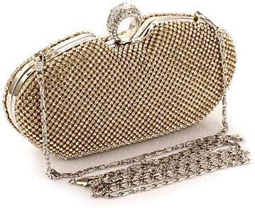FANFEI Donne Crystal/Rheditone Metal Evening Bag Rhinestone Crystal Evening Bags Gold/Black/Silver/Bagni di Nozze/Borse di Nozze, Argento Oro