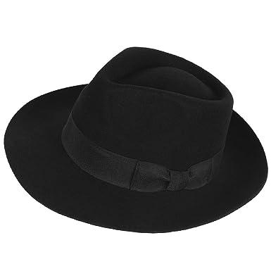 278bf165b2aac Janey&Rubbins Genuine 100% Wool Panama Wide Brim Fedora Hat - Black/White  Gangster Trilby