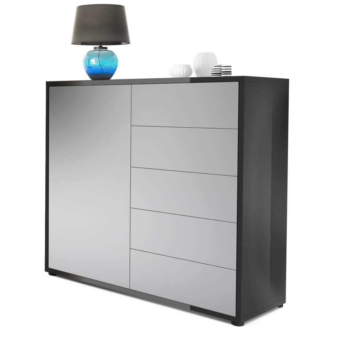 Front in Light Grey Satin-finished Carcass High Gloss Vladon Cabinet Chest Drawers Ben V2, Carcass in Black matt Front in White High Gloss