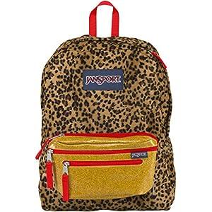"JanSport Superbreak Mix Up 2 Backpack - Black/Beige Plush Cheetah / 16.7""H x 13""W x 8.5""D"