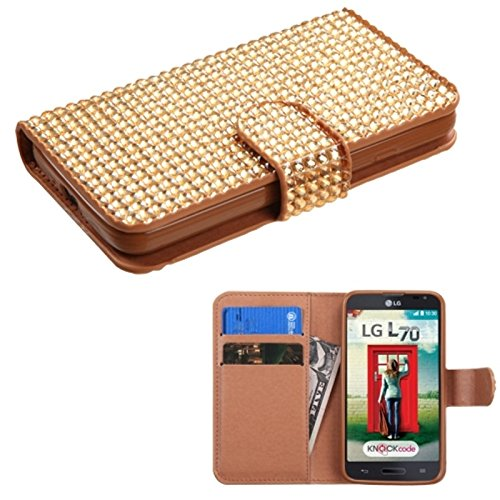 Asmyna Diamonds Book-Style MyJacket Wallet for LG MS323 Optimus L70/VS450PP Optimus Exceed 2 - Retail Packaging - Gold